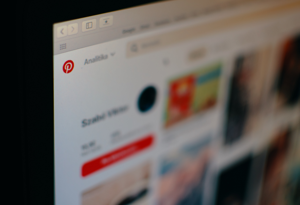 Pinterest page example on desktop.